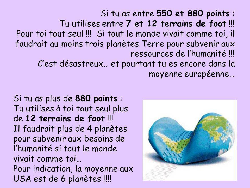 Si tu as entre 550 et 880 points :