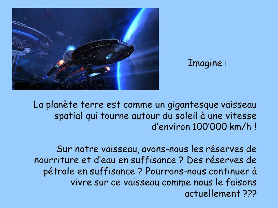 Imagine ! La planète terre est comme un gigantesque vaisseau spatial qui tourne autour du soleil à une vitesse d'environ 100'000 km/h !