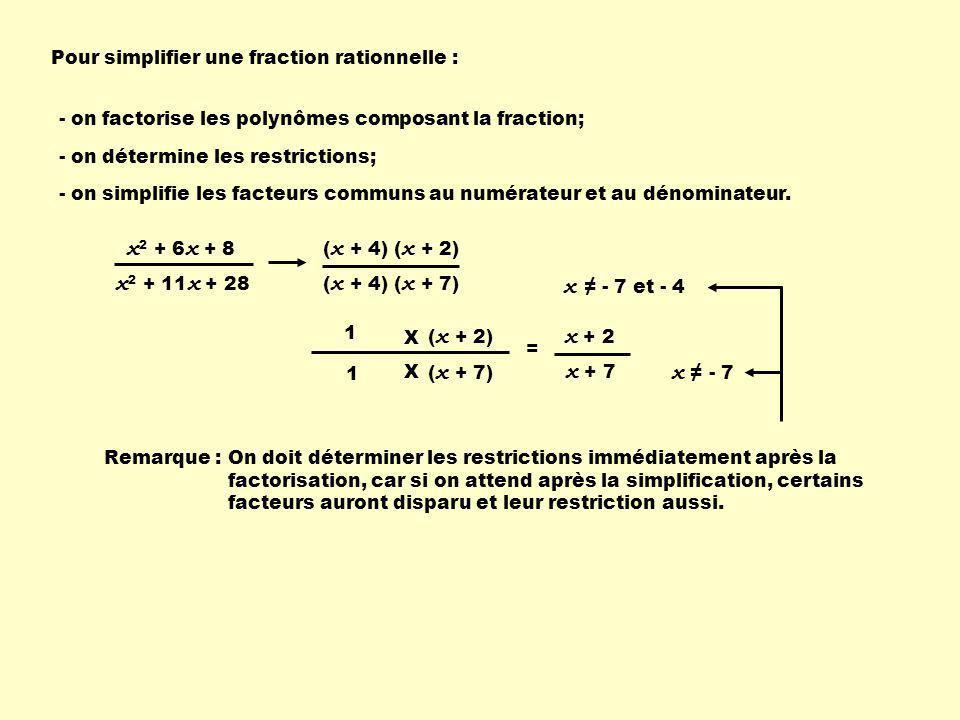 Pour simplifier une fraction rationnelle :