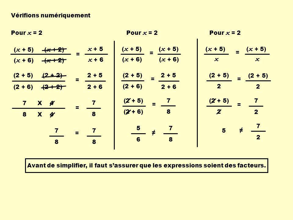 x + 5 x + 6 x Vérifions numériquement Pour x = 2 Pour x = 2 Pour x = 2