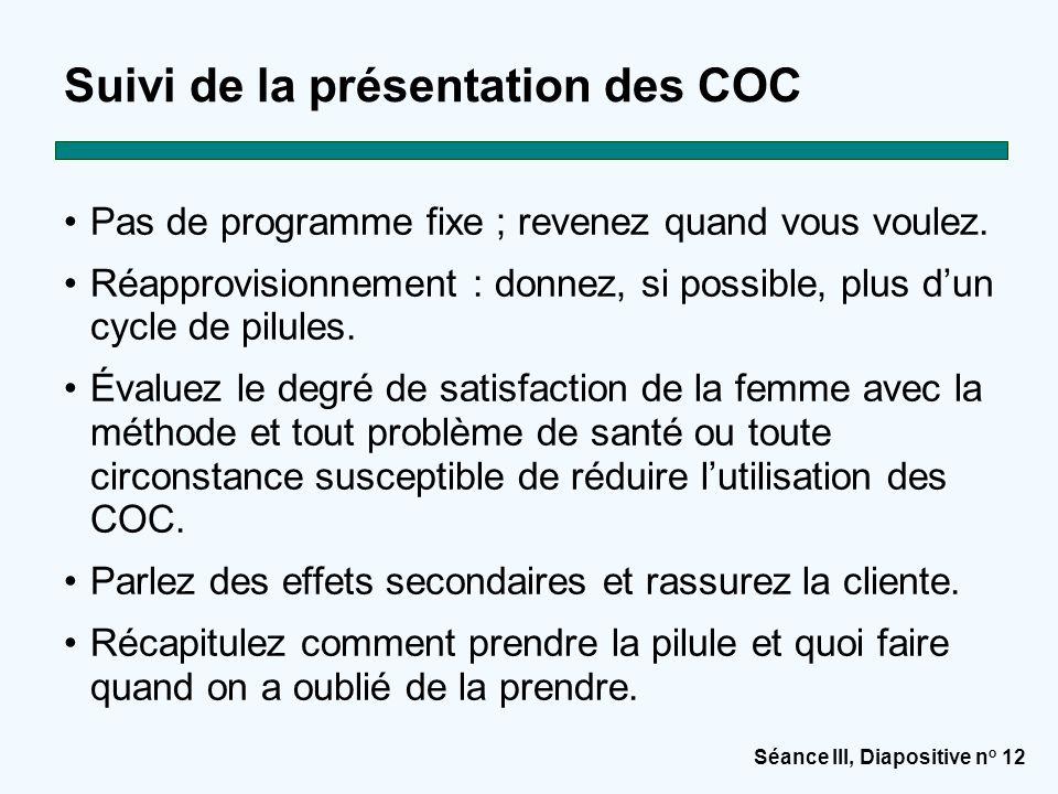Suivi de la présentation des COC