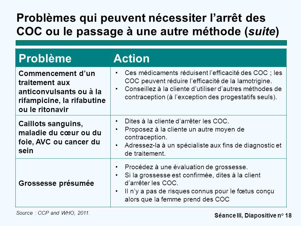 Problèmes qui peuvent nécessiter l'arrêt des COC ou le passage à une autre méthode (suite)