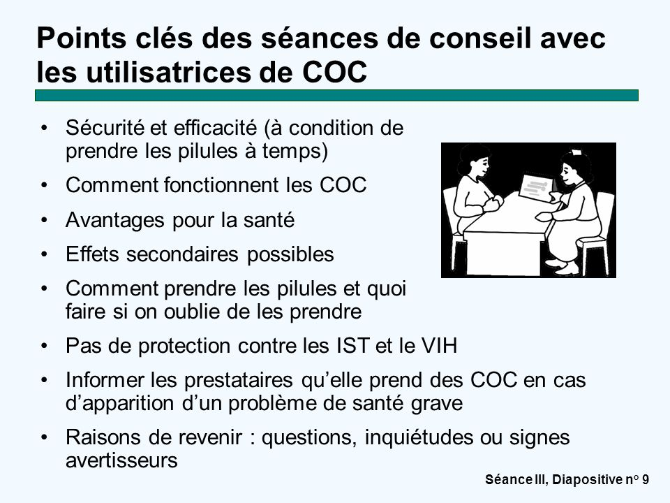 Points clés des séances de conseil avec les utilisatrices de COC