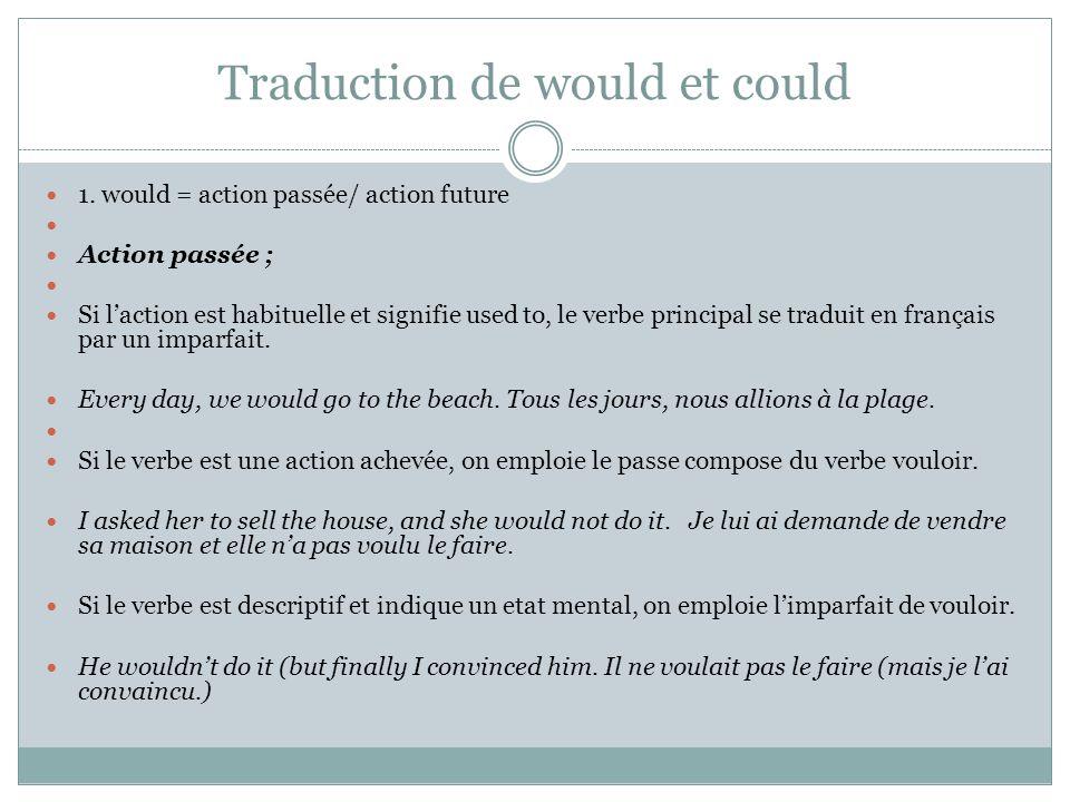 Traduction de would et could