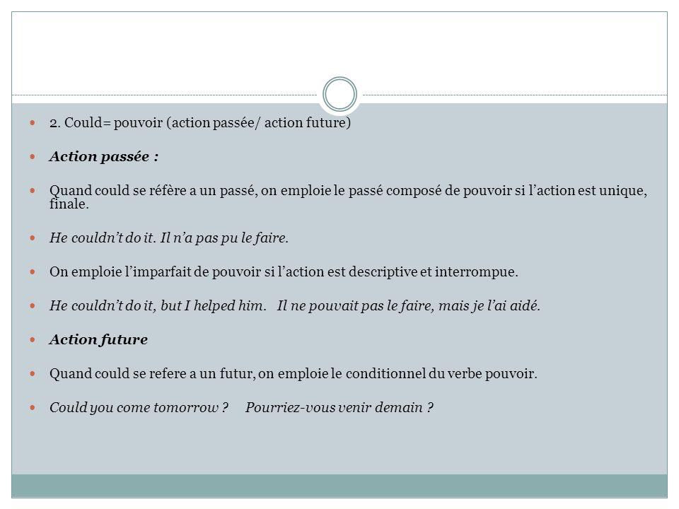 2. Could= pouvoir (action passée/ action future)