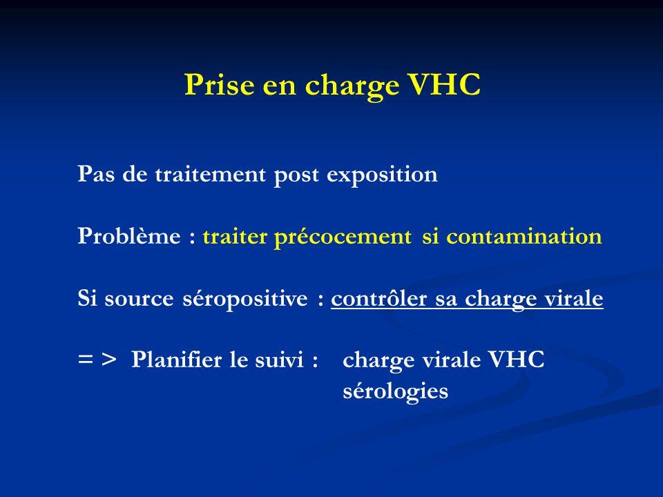 Prise en charge VHC Pas de traitement post exposition