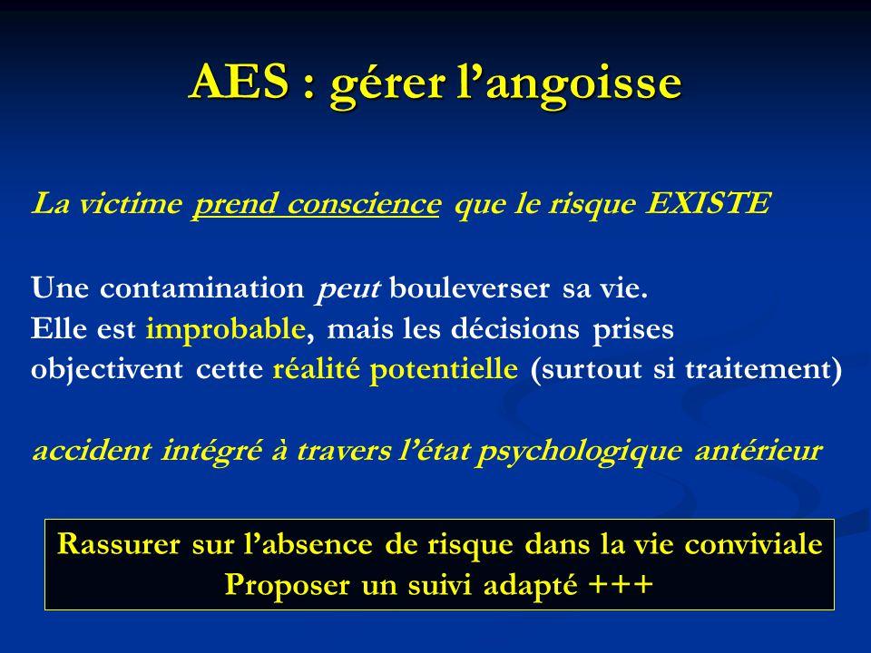 AES : gérer l'angoisse La victime prend conscience que le risque EXISTE. Une contamination peut bouleverser sa vie.
