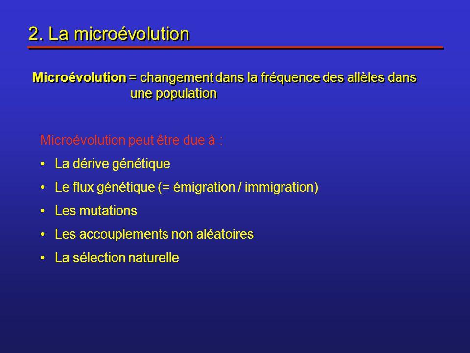 2. La microévolution Microévolution = changement dans la fréquence des allèles dans une population.