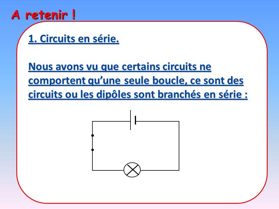 A retenir ! 1. Circuits en série.