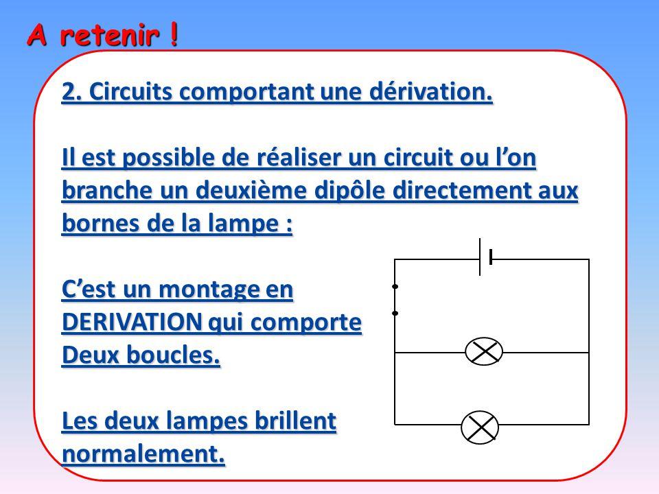 A retenir ! 2. Circuits comportant une dérivation.
