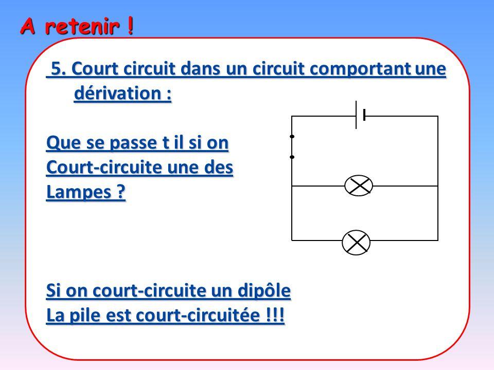 A retenir ! 5. Court circuit dans un circuit comportant une dérivation : Que se passe t il si on. Court-circuite une des.