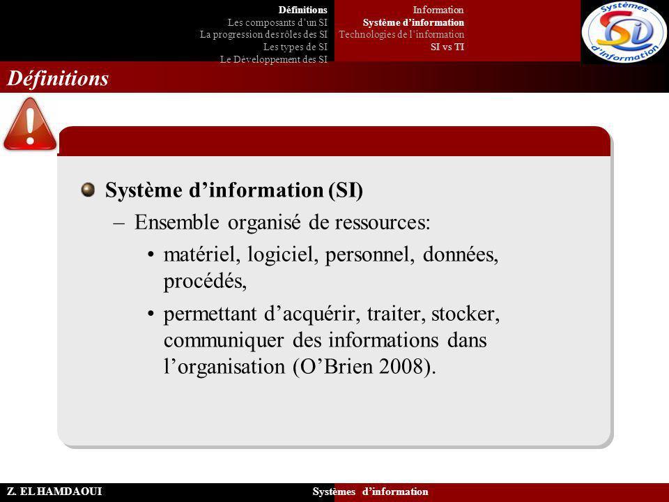 Système d'information (SI) Ensemble organisé de ressources: