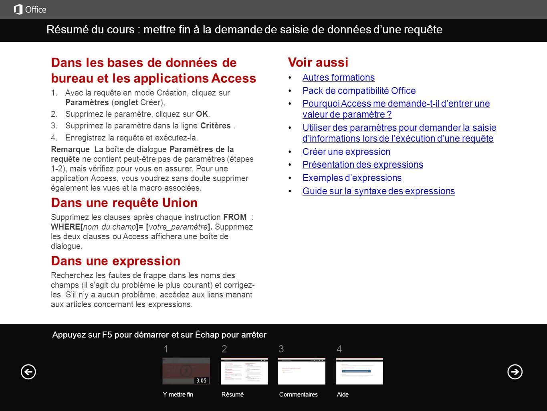 Dans les bases de données de bureau et les applications Access