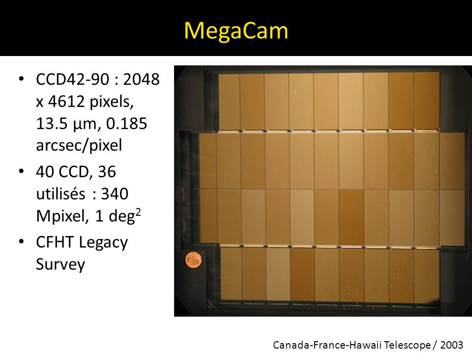 MegaCam CCD42-90 : 2048 x 4612 pixels, 13.5 µm, 0.185 arcsec/pixel