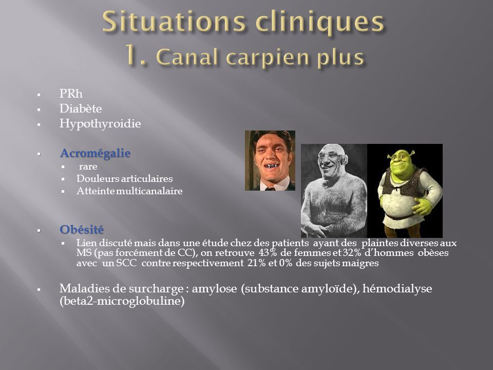 Situations cliniques 1. Canal carpien plus