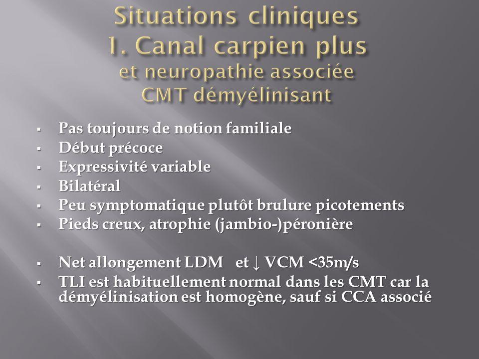 Situations cliniques 1. Canal carpien plus et neuropathie associée CMT démyélinisant