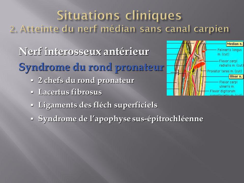 Situations cliniques 2. Atteinte du nerf médian sans canal carpien