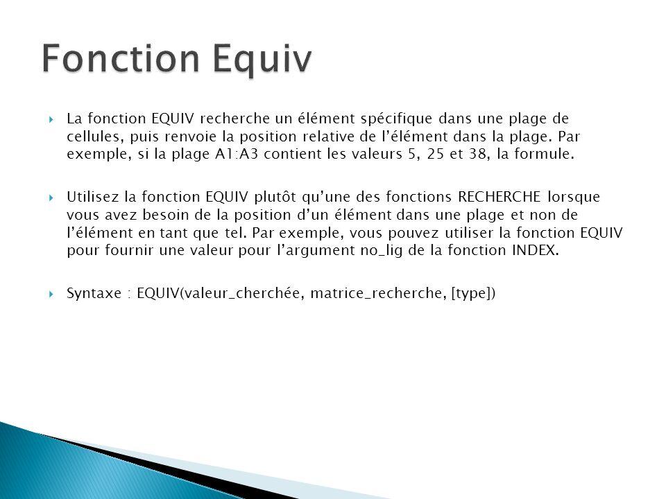 Fonction Equiv