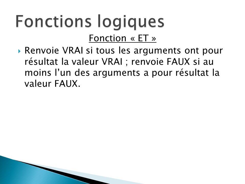 Fonctions logiques Fonction « ET »