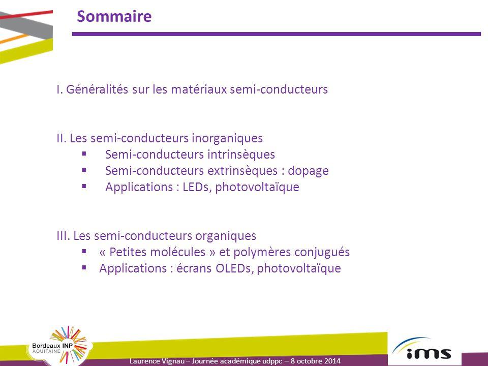 Sommaire I. Généralités sur les matériaux semi-conducteurs