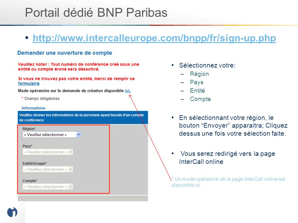 Portail dédié BNP Paribas