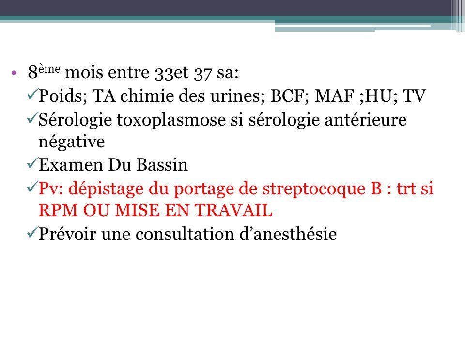 8ème mois entre 33et 37 sa: Poids; TA chimie des urines; BCF; MAF ;HU; TV. Sérologie toxoplasmose si sérologie antérieure négative.