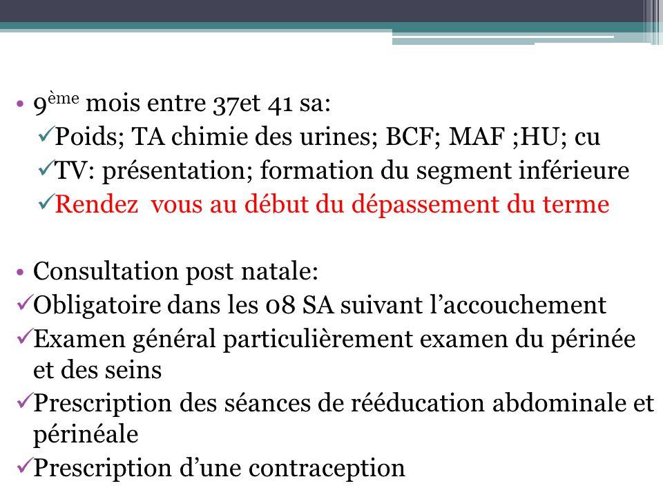 9ème mois entre 37et 41 sa: Poids; TA chimie des urines; BCF; MAF ;HU; cu. TV: présentation; formation du segment inférieure.