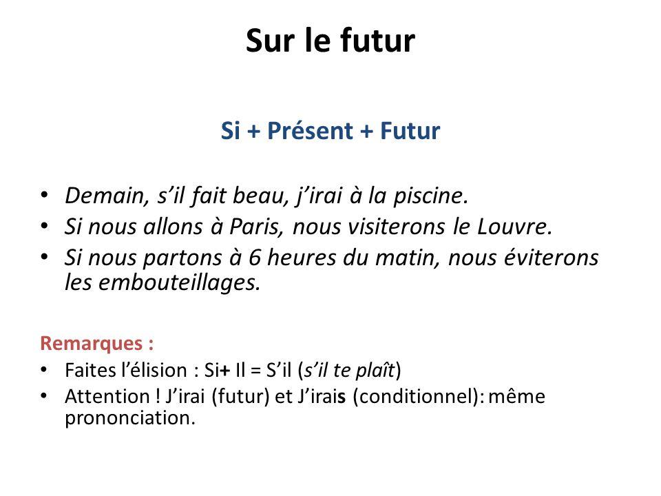 Sur le futur Si + Présent + Futur