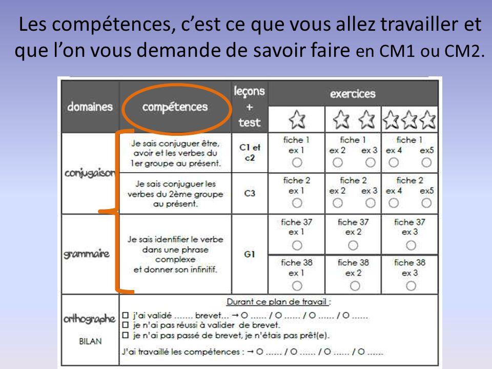 Les compétences, c'est ce que vous allez travailler et que l'on vous demande de savoir faire en CM1 ou CM2.