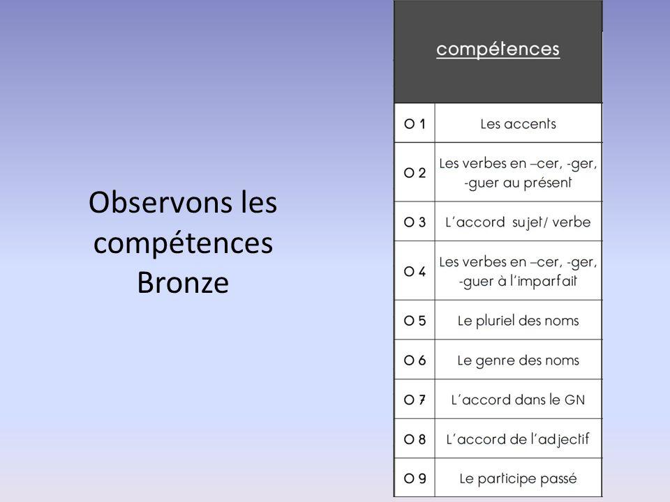 Observons les compétences Bronze