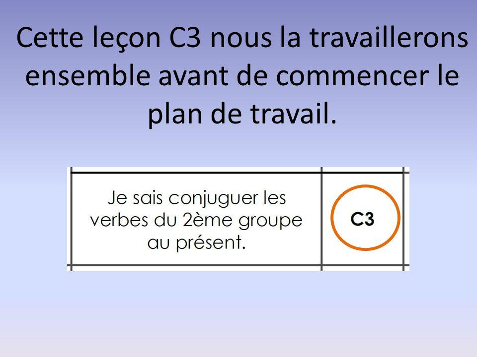 Cette leçon C3 nous la travaillerons ensemble avant de commencer le plan de travail.