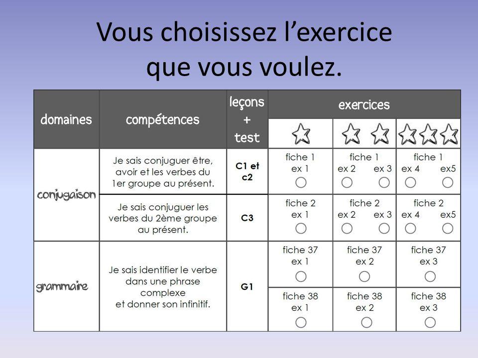 Vous choisissez l'exercice