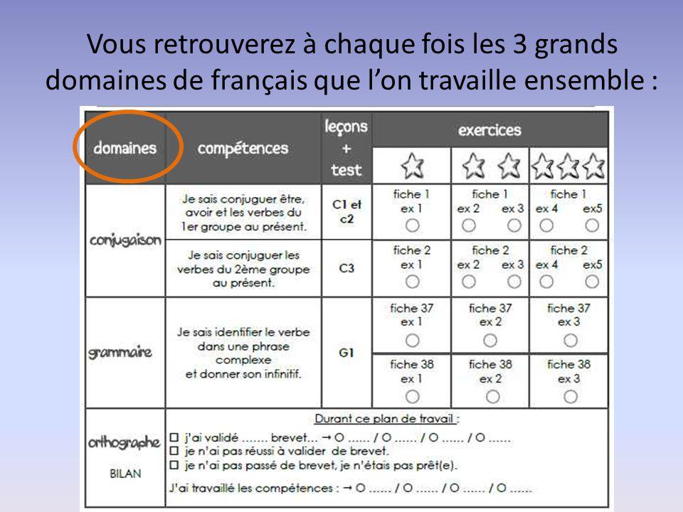 Vous retrouverez à chaque fois les 3 grands domaines de français que l'on travaille ensemble :