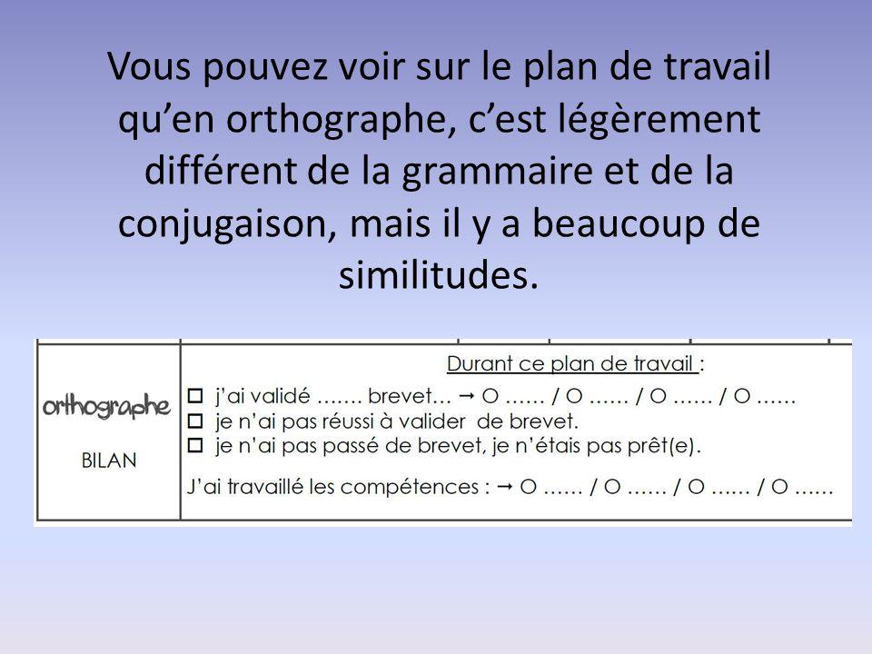 Vous pouvez voir sur le plan de travail qu'en orthographe, c'est légèrement différent de la grammaire et de la conjugaison, mais il y a beaucoup de similitudes.