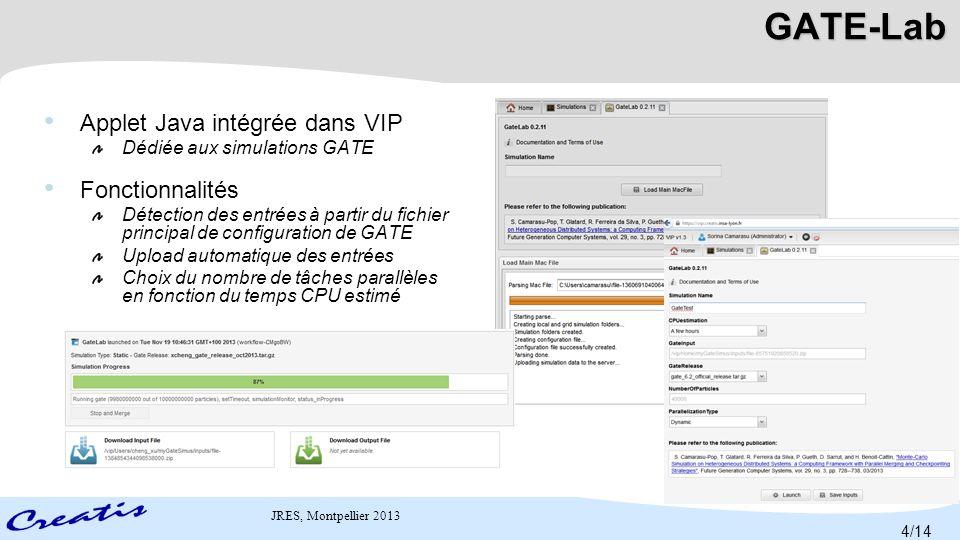 GATE-Lab Applet Java intégrée dans VIP Fonctionnalités