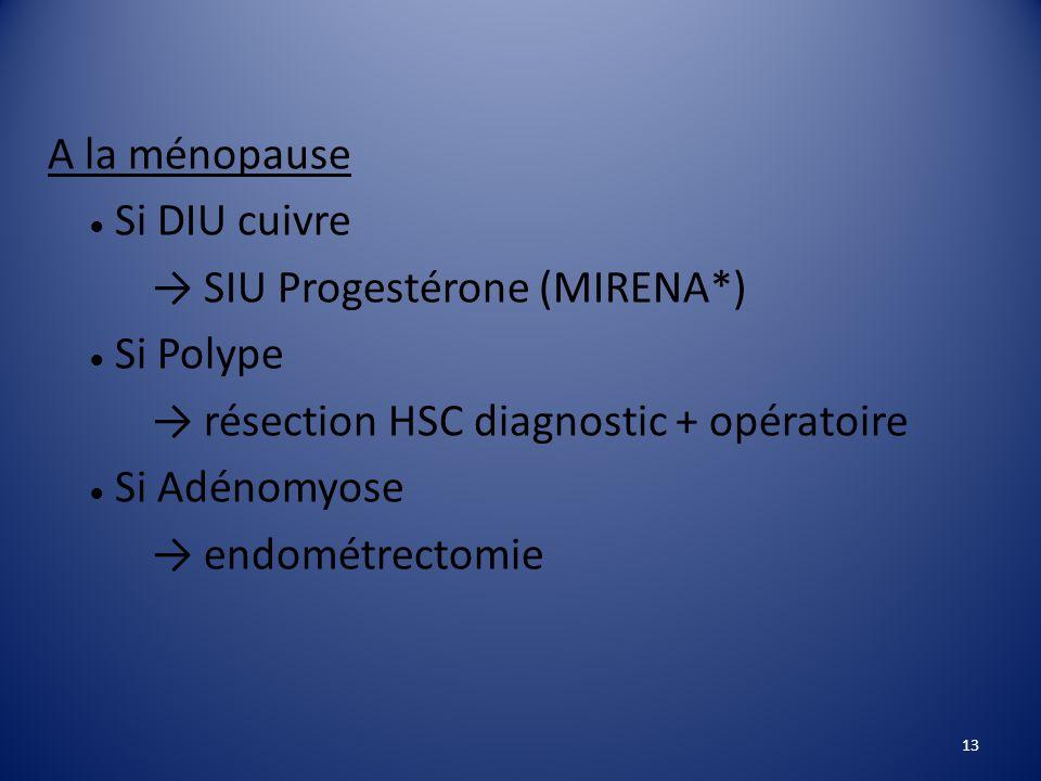 → SIU Progestérone (MIRENA*) → résection HSC diagnostic + opératoire