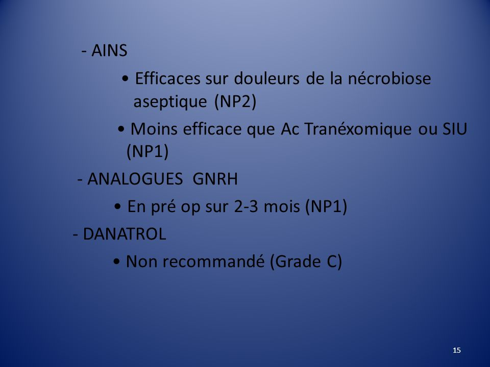 - AINS • Efficaces sur douleurs de la nécrobiose aseptique (NP2)