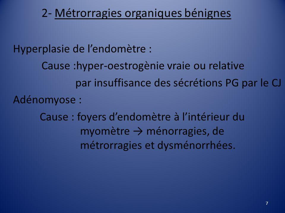 2- Métrorragies organiques bénignes