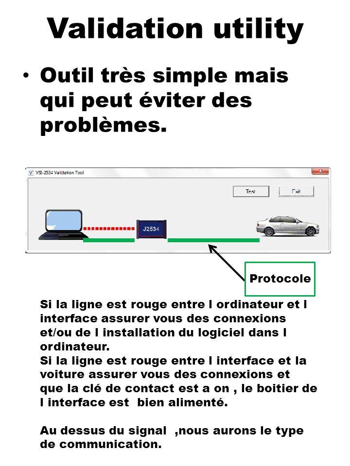 Validation utility Outil très simple mais qui peut éviter des problèmes. Protocole.