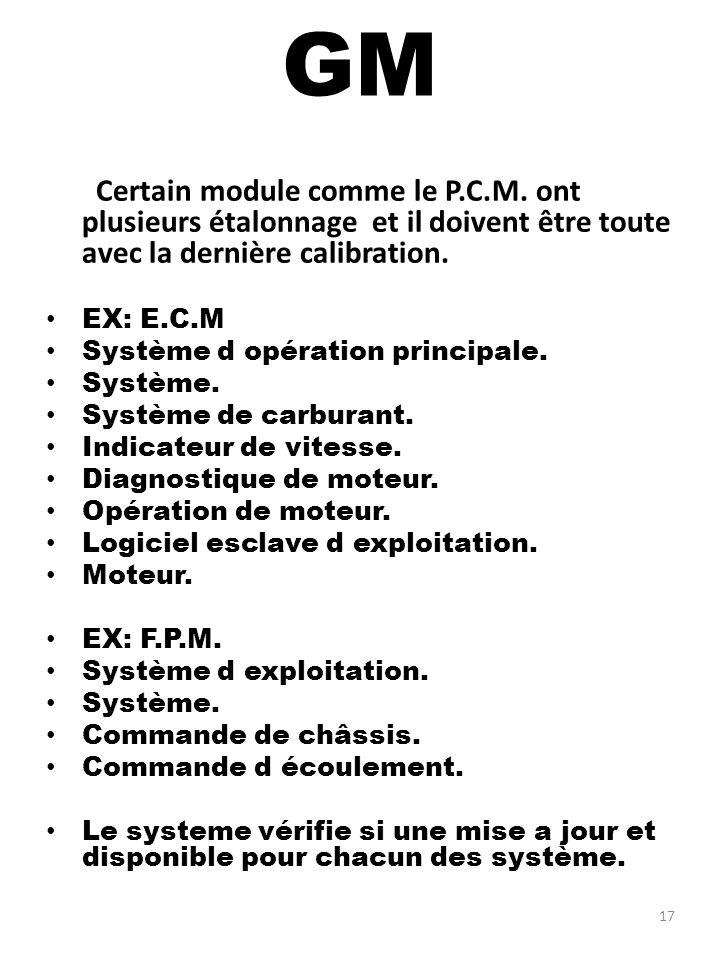 GM Certain module comme le P.C.M. ont plusieurs étalonnage et il doivent être toute avec la dernière calibration.