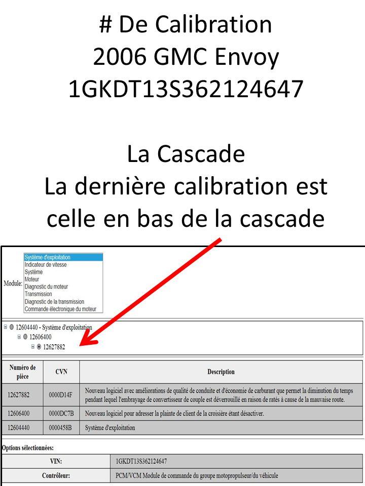 # De Calibration 2006 GMC Envoy 1GKDT13S362124647 La Cascade La dernière calibration est celle en bas de la cascade