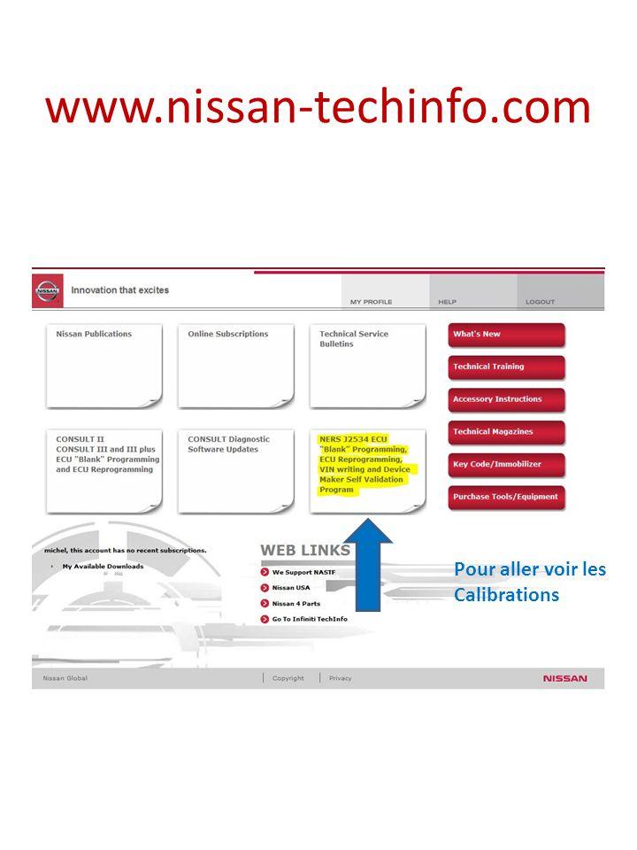 www.nissan-techinfo.com Pour aller voir les Calibrations