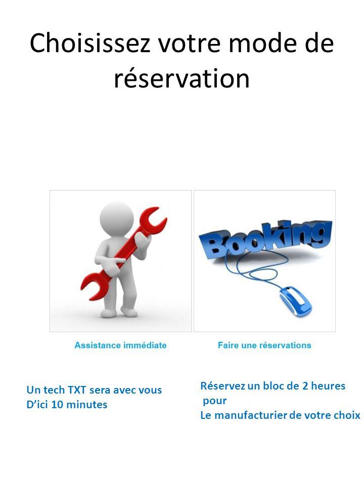 Choisissez votre mode de réservation