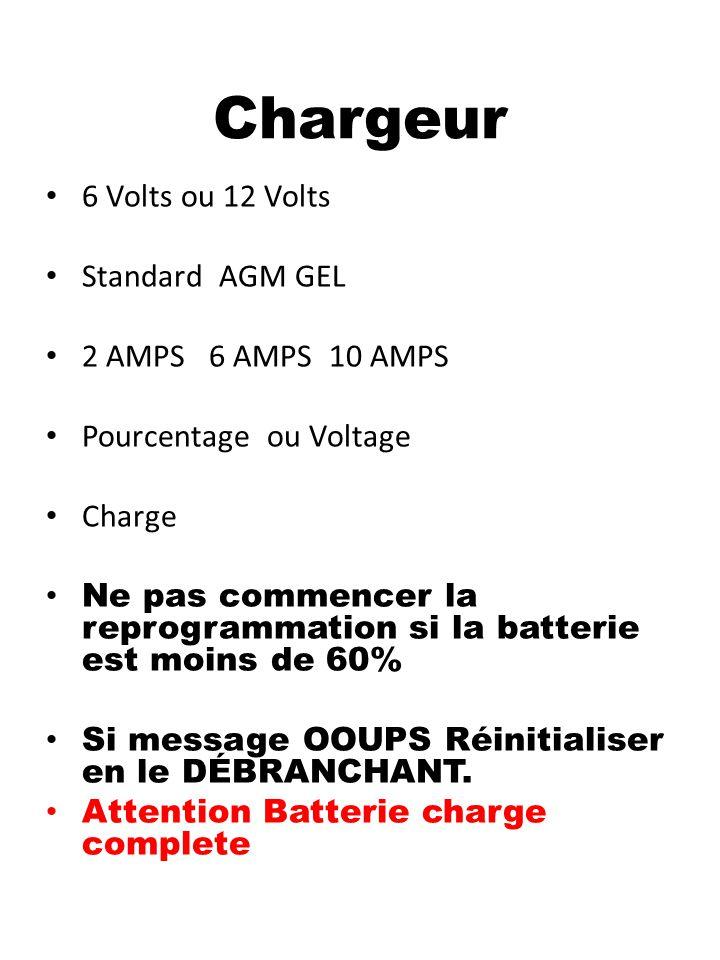 Chargeur 6 Volts ou 12 Volts Standard AGM GEL 2 AMPS 6 AMPS 10 AMPS