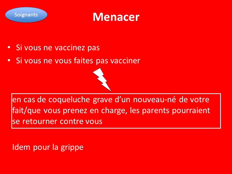 Menacer Si vous ne vaccinez pas Si vous ne vous faites pas vacciner
