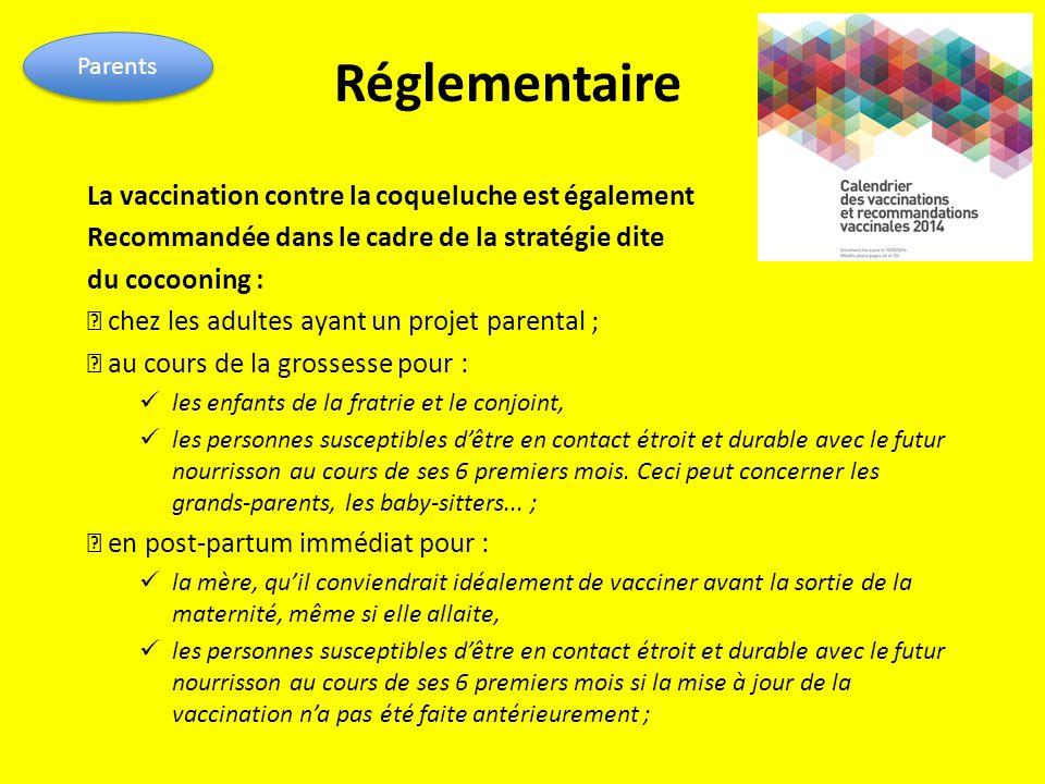 Réglementaire La vaccination contre la coqueluche est également