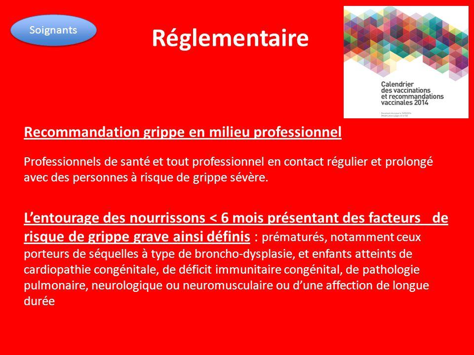 Réglementaire Recommandation grippe en milieu professionnel