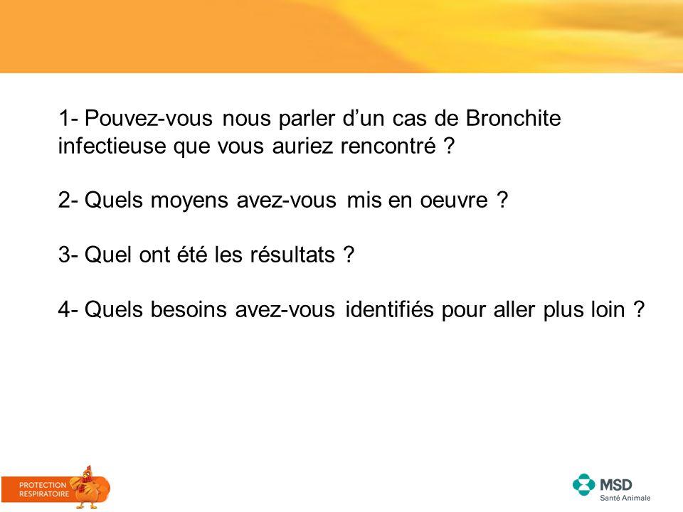 1- Pouvez-vous nous parler d'un cas de Bronchite infectieuse que vous auriez rencontré