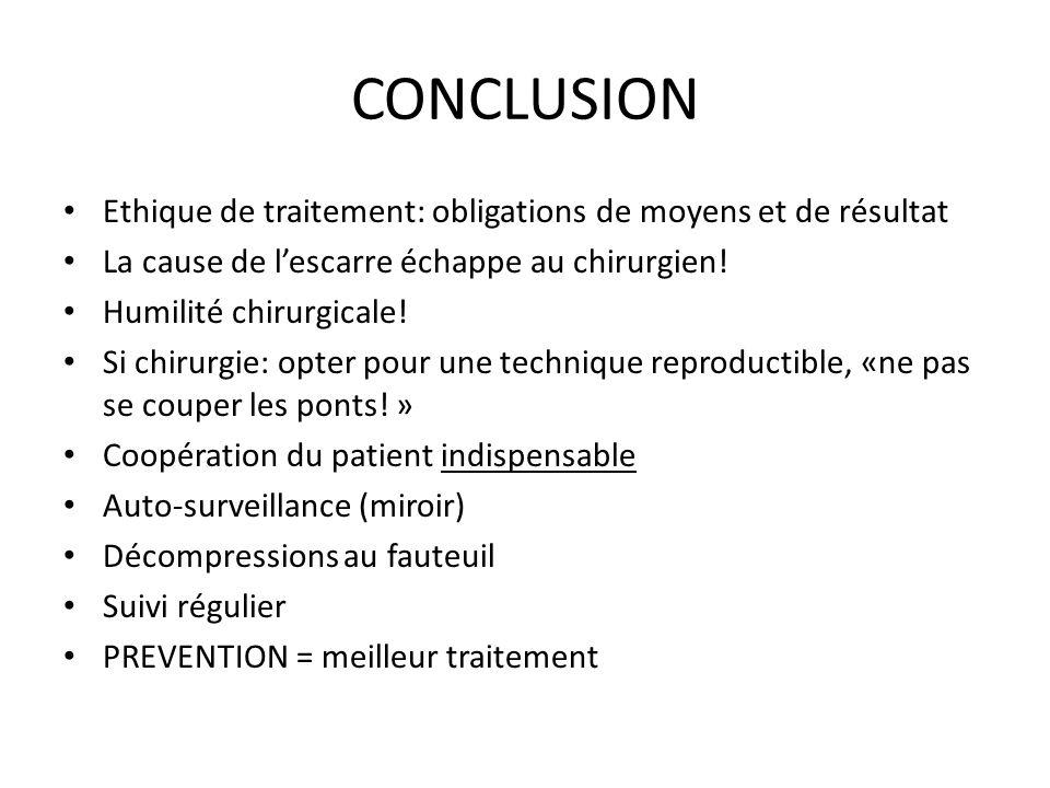 CONCLUSION Ethique de traitement: obligations de moyens et de résultat
