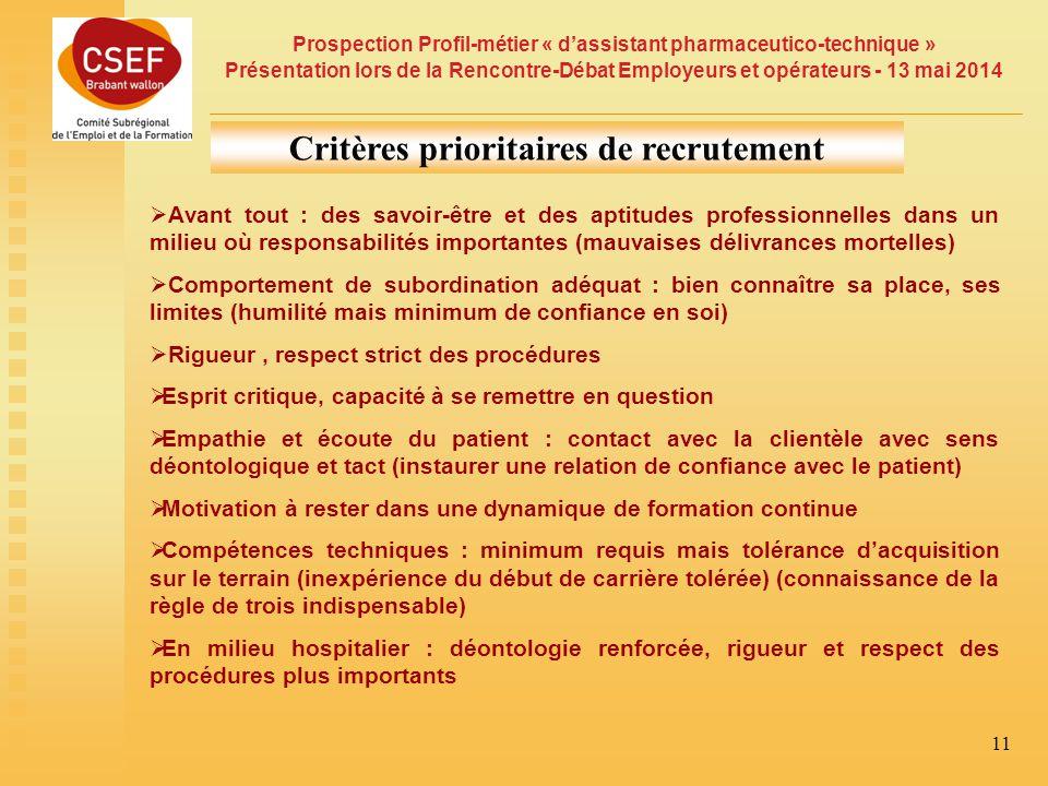 Critères prioritaires de recrutement